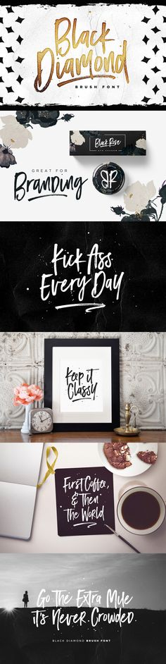 Black Diamond isn't your average brush font, it's raw, edgy & bursting with attitude! Hand-painted with extra attention to quick-strokes and dry textures, Black Diamond is guaranteed to deliver a loud, proud & carefree message - ideal for logos, handwritten quotes, product packaging, merchandise, social media & greeting cards.