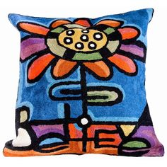 This beautiful throw pillow is ideal for any home. Constructed of wool and cotton, this pillow features a darling flower with the word believe.