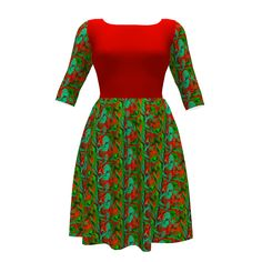 Colette Patterns Moneta Dress made with Spoonflower designs on Sprout Patterns. You'll be ready for the holiday season with this bright and cheerful outfit!  The gorgeous reds and vivid greens of Bella Nina Colorway 9 are set off to perfection with this gorgeous red bodice.