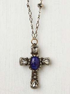 Free People Brass Cross With Blue Stone Necklace , 300.00