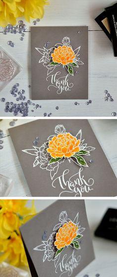 Spotlight technique. White embossed floral design and one raised colored element. Details: http://craftwalks.com/2017/02/27/studio-katia-february-release-blog-hop/