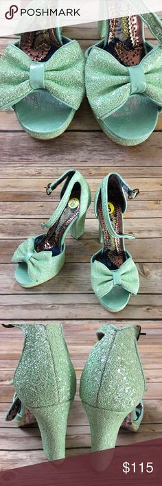Irregular Choice ankle strap platforms NWOT. Glittery with a big adorable bow on the toes. These beauties have a 4 1/2 inch heel with a 1/2 inch platform. Irregular Choice Shoes Platforms