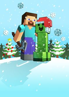 X-mas Minecraft by Lukali on DeviantArt Minecraft Posters, Minecraft Mobs, Minecraft Pictures, Minecraft Fan Art, Minecraft Houses, Minecraft Stuff, Minecraft Crafts, Christmas Drawing, Christmas Paintings