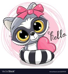 Illustration about Cute Cartoon Raccoon with heart on a pink background. Illustration of design, eyes, luck - 125348334 Cute Cartoon Girl, Cute Cartoon Animals, Cute Animals, Cute Animal Drawings, Cute Drawings, Cute Images, Cute Pictures, Kids Cartoon Characters, Cartoon Elephant