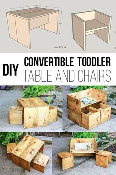 This is AMAZING! Easy DIY Kids table and chair that converts into stools and benches. Do many different configurations to use! Learn How to make one with printable plans. kids table and chairs easy Convertible DIY Toddler Table and Chair Set - With Plans Diy Kids Furniture, Diy Furniture Plans Wood Projects, Easy Woodworking Projects, Woodworking Plans, Woodworking Furniture, Woodworking Techniques, Woodworking Magazines, Wood Projects For Kids, Woodworking Jointer