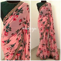 Gorgeous pink color designer blouse with rose flower print. Designer saree with bottle green color high neck blouse. Trendy Sarees, Stylish Sarees, Fancy Sarees, Chiffon Saree, Georgette Sarees, Organza Saree, Silk Sarees, Modern Saree, Saree Trends