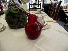 Whitefriars 9470 ruby red vintage glass jug/creamer retro vintage