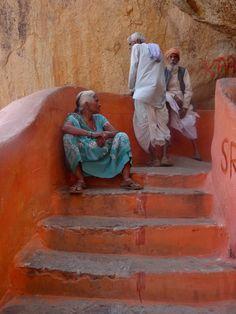 Stairs to Hanuman temple, Hampi, Karnataka, India