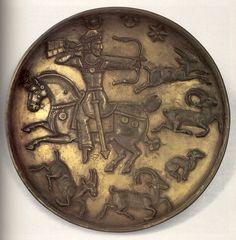 Блюдо серебряное - Царь охотится на горных козлов. Перв. половина VII в. Государственный Эрмитаж