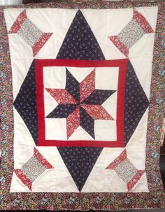 Vintage Handmade Cotton Quilted Patriotic Standard Pillow Sham, Vintage Pillow Shams, Vintage Linens, Vintage Bedding, Red, White and Blue by LakesideVintageShop on Etsy