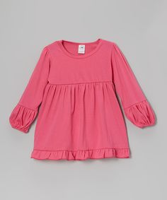 Look what I found on #zulily! Hot Pink Babydoll Tunic - Toddler & Girls by A Little Annafaith #zulilyfinds
