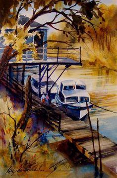 """At the Dock"" - Original Fine Art for Sale - © Kathy Los-Rathburn"