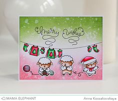 Merry Wishes Handmade Card Making, Handmade Cards, Diy Cards, Mama Elephant Stamps, Interactive Cards, Elephant Design, Animal Cards, Winter Cards, Card Making Inspiration