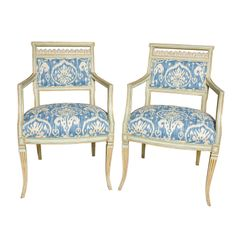 Swedish Gustavian Neoclassical Armchairs | In Ikat Fabric | From a unique collection of antique and modern armchairs at http://www.1stdibs.com/furniture/seating/armchairs/