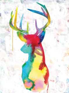 rainbow deer art