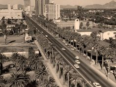 Central Avenue, Phoenix, Arizona, shown in the early 1960's.