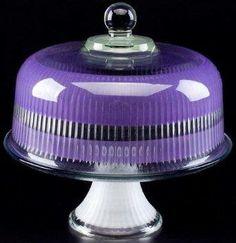 "Purple Retro Stripe Hand Painted Glass Cake Dome 11""  $94.99 www.GlassBottomSpringformPans.com"
