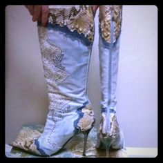Denim and rhinestone knee high boots Blue and accented gold made by El Dantee in spain. Light leather interior. Worn bottom but in good condition Shoes Over the Knee Boots