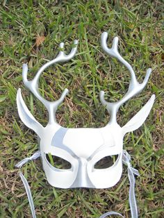 Moon Stag Mask - White and Silver Deer. $80.00, via Etsy.