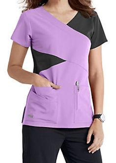 The Grey's Anatomy Signature mock wrap scrub top has detailed style lines and roomy pockets. Cheap Scrubs, Cute Scrubs, Spa Uniform, Scrubs Uniform, Scrubs Pattern, Scrubs Outfit, Greys Anatomy Scrubs, Coats For Women, Clothes For Women