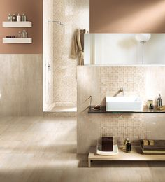 I Travertini glazed porcelain stoneware tiles in polished and natural rectified beige and mosaic-travertino mix by Capri Ceramiche Best Floor Tiles, Ceramic Floor Tiles, Wall Tiles, Porcelain Tiles, Travertine Bathroom, Contemporary Tile, Baths Interior, Small Bathroom, Bathrooms
