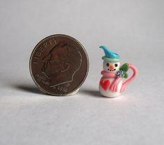 Handmade Miniature PETITE SWEETHEART SNOWMAN PITCHER -  OOAK C. Rohal #CRohal