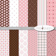 Florence Pink Modern Digital Scrapbook Paper Pack  -- INSTANT DOWNLOAD