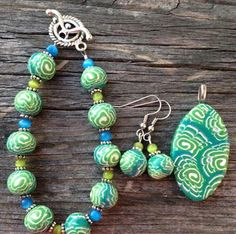Lime and Turquoise Polymer Clay Set Bracelet by DeannasEtsyShop, $25.00