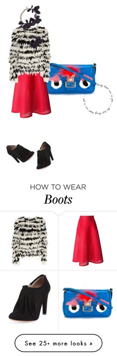 """fendi bag with red skirt sweater boots and bling"" by kohlanndesigns on Polyvore featuring Fendi, Chloé, DKNY, Lanvin, women's clothing, women's fashion, women, female, woman and misses"