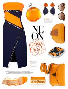 """Neon Orange Crush"" by nans-g ❤ liked on Polyvore featuring Thierry Mugler, Vianna B.R.A.S.I.L, Liliana, IIIBeCa, Paul Smith, Chloé, Hermès, Tory Burch and borderless"