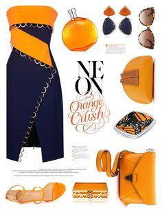 """Neon Orange Crush"" by nans-g ❤ liked on Polyvore featuring Thierry Mugler, Vianna B.R.A.S.I.L, Liliana, IIIBeCa, Paul Smith, Chloé, Hermès, Tory Burch and borderless"