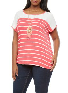 Plus Size Striped Top With Dreamcatcher Necklace | Soft knit material features sailor stripes with a solid chiffon yoke and contrast trim at the neckline and short dolman sleeves, with a scoop neck and curved back hem. This top comes complete with a metallic chain necklace that has a dreamcatcher-inspired pendant with feather motifs and suede fringes to finish off the look. Style this gorgeous top with dark skinny jeans, strappy heels and a faux leather moto jacket.