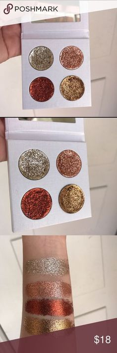 Neutral pressed glitter palatte 4 pressed glitter compact with mirrors Made to order Shades: champagne/rose gold/penny/nutmeg smooth&pigmented Could compare to glitter injections Size of a quarter ish Ingredients: preservative cap five, aloe Vera, coconut oil, jojoba oils, glycerin, isopropyl alcohol FYI: Packaged glitter pan serperately palatte for safety arrival when you recieve it you can arrange your palatte ! No switching colors. Thank you ! Message me if you have questions lovelys…