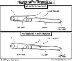 Trombone humour it's pretty true. I'm a trombonist. Funny Band Memes, Marching Band Memes, Band Jokes, Band Nerd, Trombone Jokes, Satire, Band Problems, Flute Problems, Music Jokes