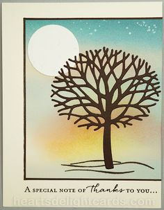 handmade card from Heart's Delight Cards ... looks like a sunset with moonrise scene ... sponged background ... die cut naked tree ... fresh graphic look ... Stampin' Up!