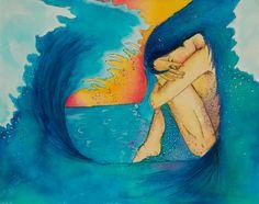 """Tsunami"" Tsunami, Submissive, Art Sketches, Joy, Watercolor, Awakening, Creative, Wave, Stress"