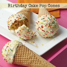 Limited Edition Birthday Cake Candy Melts candy coats the inside of the sugar cone and covers cake pop center!