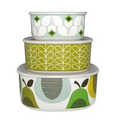 Orla Kiely set of 3 storage bowls. Beautiful Orla Kiely homeware & kitchenware now available online in New Zealand from Perch Home Kitsch, Green Label, Kitchenware, Tableware, Storage Sets, Food Storage Containers, Decoration Table, Vintage Kitchen, Kitchen Retro
