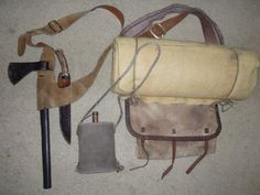 1740-1770's Colonial by snowshoemen, via Flickr - Shoulder belt w/hatchet+hunting knife--Linen pack+bedroll--Wool covered metal canteen. All worn over right shoulder.
