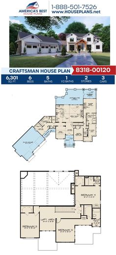 Take a look at this charming Craftsman design featuring 6,301 sq. ft., 6 bedrooms, 5.5 bathrooms, a loft, a mud room, a study area, and a screened porch. Find more details about Plan 8318-00120 on our website. Craftsman Style Homes, Craftsman House Plans, Study Areas, Architectural Elements, Mudroom, Art Decor, Porch, Floor Plans, House Design