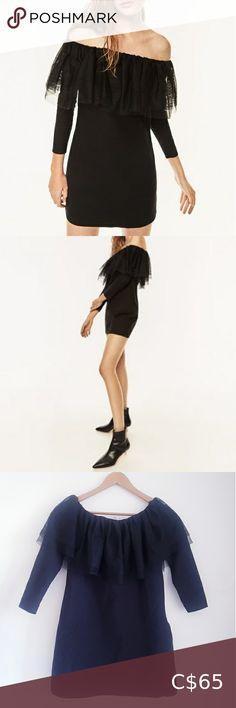 Off The Shoulder, Cold Shoulder Dress, Zara Dresses, Zara Black, Stylists, Tulle, Bell Sleeve Top, Mini, Skirts