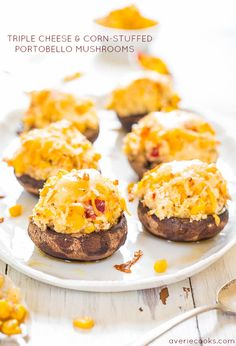 Triple Cheese and Corn-Stuffed Portobello Mushrooms - Mushroom fans will love these! Stuffed to the max with cheese! Oh yes! @averie