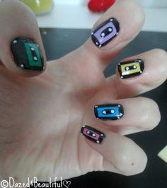 cassette nails! so cute! #nails #beauty #diy