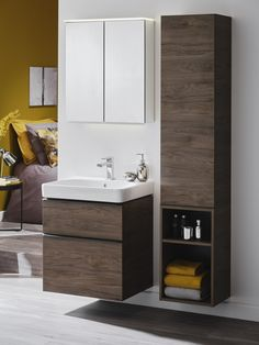 Drawing on the natural world for inspiration, the new Geberit Smyle series in Hickory brings warm wooden textures to the bathroom, helping to create an oasis of calm while offering generous essential storage solutions for busy family bathrooms. Small Bathroom Interior, Bathroom Design Luxury, Modern Bathroom Design, Bathroom Wall Cabinets, Bathroom Furniture, Small Toilet Design, Washbasin Design, Relaxing Bathroom, Wardrobe Design Bedroom