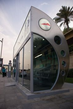 Another example of how hot it is in Dubai. A lot of bus stops for public transit are actually small air-conditioned enclosures. It was nice and cool inside but when you go out it felt like a wall o… Dubai Architecture, Architecture Details, Building Architecture, Modern Architecture, Pixar Theory, Bus Stop Design, Bus Stand, Bus Shelters, Shelter Design