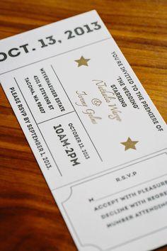 Vintage movie ticket letterpress invitation