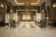 Hotel Lobby with Marvel Champagne Onyx floors and Bronze Luxury walls #madeinitaly #tile