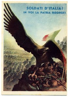 "Italian ""Soldiers Of Italy! In you home is resurrected. Italian Empire, Italian Army, Ww2 Propaganda Posters, Italian Posters, Political Art, Band Posters, Illustrations And Posters, World War Two, Japan"