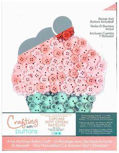 Button Art- Mdf Flat Cupcake