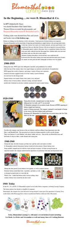 The History of B. Blumenthal and Co. and our buttons. We've come a long way but buttons have always been there! B. Blumenthal and Co. EST 1877.